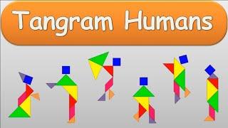 Human Figures - Tangrams (Flying Umbrella, Lady, Gentleman, Walking Boy, Jumping Girl, Tuxedo Man)