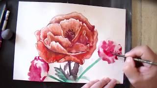 Смотреть онлайн Техника рисования цветов акварелью для начинающих
