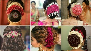 Latest Gajra Hairstyle For Wedding|Flowers Hairstyle Design|Bun Hairstyles |Indian Bridal Hairstyles
