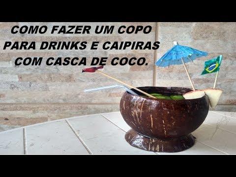 COMO FAZER UM COPO PARA DRINKS E CAIPIRINHAS COM CASCA DE COCO