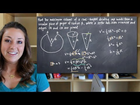 Maximum volume of a cone shaped cup (KristaKingMath)