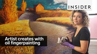 This oil painter creates incredible pieces with her fingers