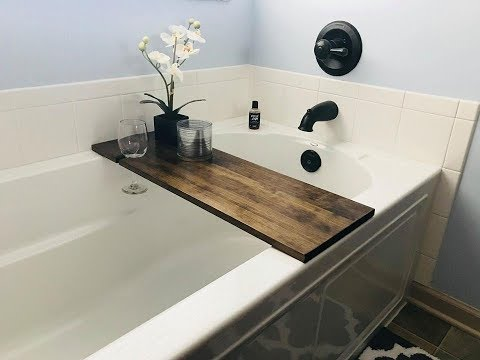Make a Relaxing Bath Tub Tray with Wine Glass Holder