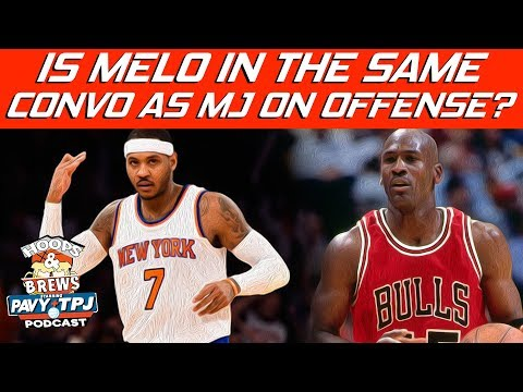 Better Offensively Carmelo Anthony or Michael Jordan? | #HoopsNBrews