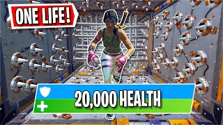 You have 20,000 HEALTH to beat this NO Checkpoint Deathrun.. (Fortnite Creative)