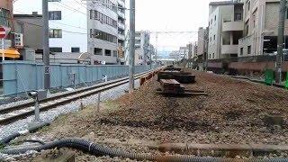 或る列車 JR長崎本線竹岩橋踏切通過 高架設置工事の為臨時レール通過  20160106 145853