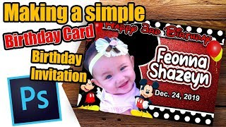 Creating A Simple Birthday Card/Invitation Mickey Mouse   Photoshop