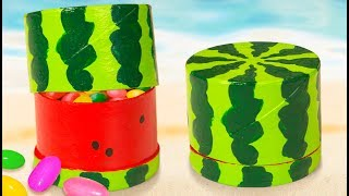 DIY Miniature Water Melon Gift Box   Toilet Paper Roll Craft Ideas For Kids On Box Yourself