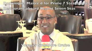 Regent Seven Seas Maitre d for the Prime 7 Steak House aboard Voyager 700 guest cruise ship during t