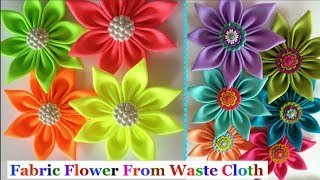 How To Make Fabric Flower From Old Cloth-Fabric Flower Tutorial|Best Out Of Waste-easy Fabric Flower
