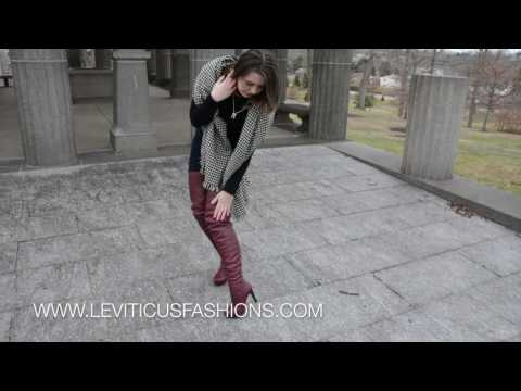 Pinot Noir Leather LeviTicus Fashions High-Rise Thigh Boots