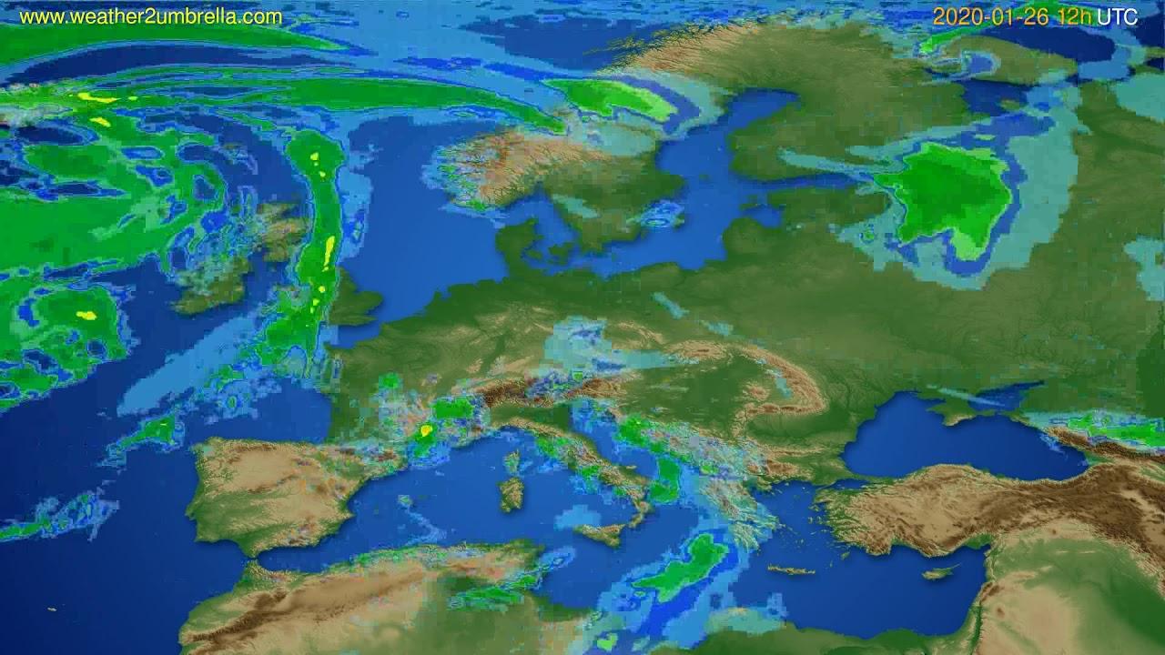Radar forecast Europe // modelrun: 00h UTC 2020-01-26