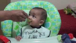 5 month old Baby first time trying carrot puree-starting solid Food