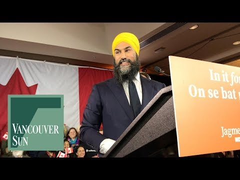 NDP leader Jagmeet Singh makes victory speech   Vancouver Sun