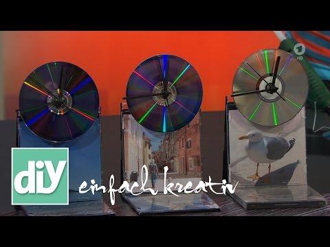 Tischuhr aus CDs und DvDs | DIY einfachkreativ