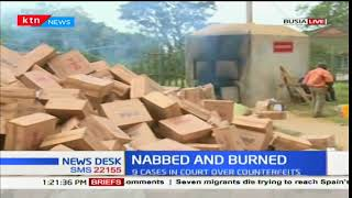 KRA officials confiscate and destroy large loads of illegal goods at the Busia border