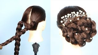 New bridal Bun Hairstyle For wedding/party || new hairstyle 2019 || braided hairstyles ||  prom