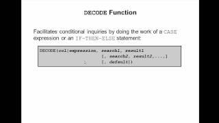Oracle SQL Video Tutorial 27 - DECODE function