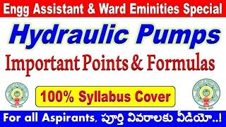 Hydraulic Pumps Important Points and formulas mechanical  special aspirants By SRINIVASMech