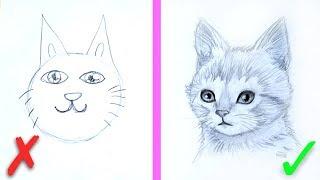 Урок Рисования ✎ КАК НАРИСОВАТЬ КОТЕНКА? ✎ Основные ошибки ✎ КАК НАУЧИТЬСЯ РИСОВАТЬ