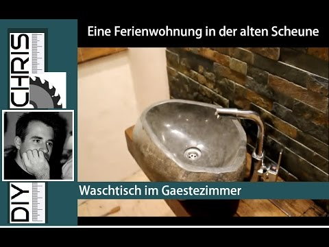Naturstein Waschbecken (Natural stone Sink on a Oak console)   The old Barn Part 1