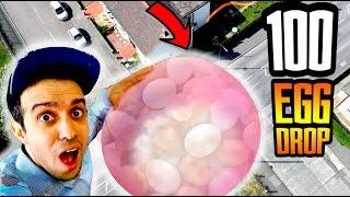 INSANE 100 Egg Drop Challenge In A Wubble Bubble! Will It Break?