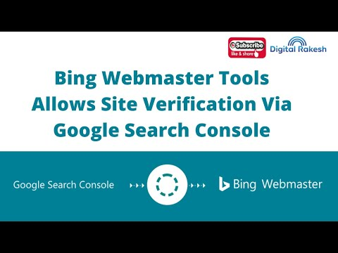 Bing Webmaster Tools allows site verification via Google Search Console