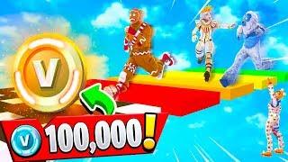 IF MY FANS WIN.. THEY GET 100K VBUCKS! (Fortnite Rainbow Parkour Challenge)
