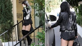Kylie Jenner Displays Her Sexy Legs In Short Skirt And Knee High Boots [2014]