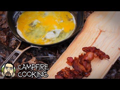 Bushcraft Camp - Cooking Bacon, Eggs, Steak & Potatoes