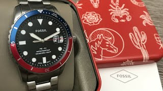Fossil FB-01 Three-Hand Date Stainless Steel Men's Watch FS5657 Review (Unboxing)