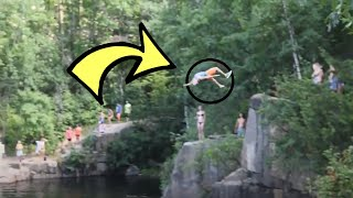 Cliff jumping at a Quarry!