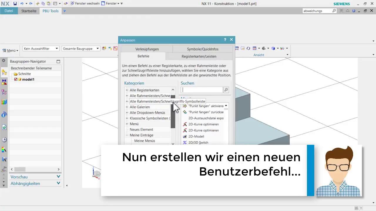 Vorschaubild: NX Tutorial: So integrieren Sie eigene Anwenderbefehle ins Menü