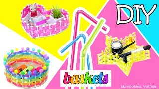How To Make Star, Heart and Round Baskets Using Drinking Straws And Ribbons – Easy DIY Baskets
