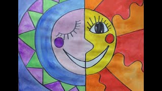 Mexican Folk Art Sun And Moon Drawing/Painting