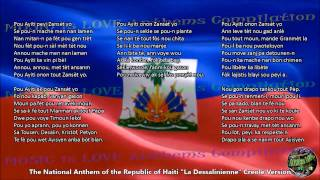 Haiti National Anthem CREOLE Version with music, vocal and lyrics w/English Translation