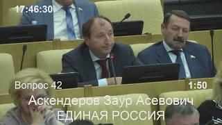 Заур Аскендеров выступил на заседании Госдумы