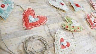 DIY Room Decor - Fabric Heart Garland