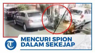 Video Detik-detik Pria Berjaket Ojol Curi Spion Mobil dan Langsung Kabur dengan Santainya