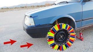 Yüzlerce Çakmaklardan ARABAYA Teker yaptık GEZDİK!! Howto MAKE Wheel Lighter vs CAR