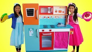 Wendy & Emma Pretend Play w/ Giant Kitchen Cooking Toy Compilation
