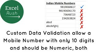 Allow only 10 digit numeric mobile number in Excel using Data validation