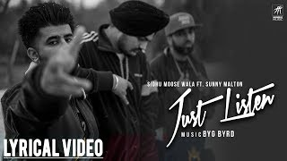 Just Listen | Lyrical Video | Sidhu Moose Wala ft. Sunny