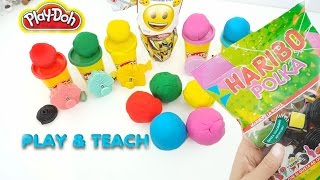 Learn to count with playdoh 1 to 5, learn colors with candy haribo ;)