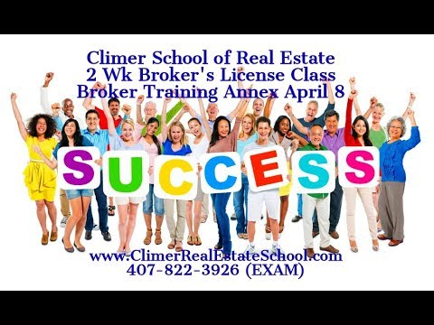Brokers License Class April 8, 2019 Orlando Broker Training Annex