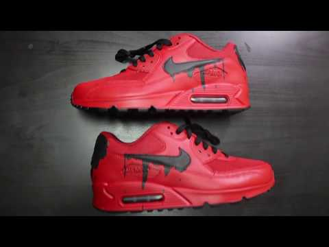 "Custom Nike Air Max 90 ""Candy Red Drip"" + Time Lapse"
