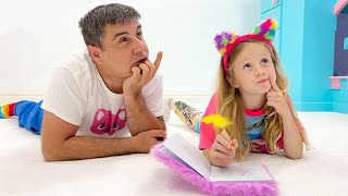 Nastya and papa compose their funny fictional stories