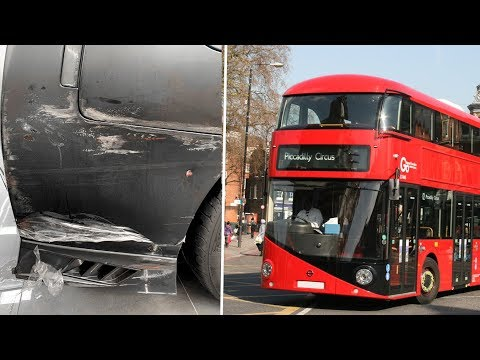 Bus Crash vs Nissan GTR!