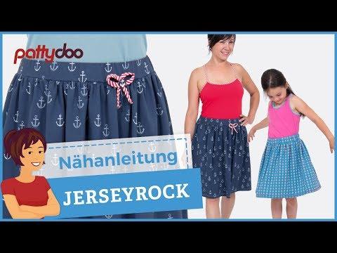 Jerseyrock nähen mit Kräuselung, Gummibund + Flatlocksaum - für Groß und Klein