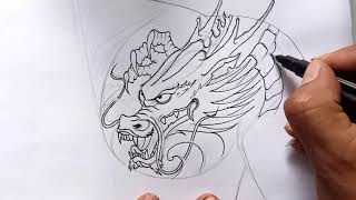 Dragon Drawing For Tattoo-dragon Tattoo Model On Chest